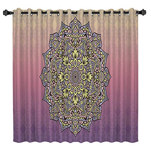 - LEO BON Blackout Window Curtains Room Darkening Curtains Mandala Indian Style Retro Bohemian Flower Artistic Print Window Curtain Panels for Bedroom 52 by 63 Inch