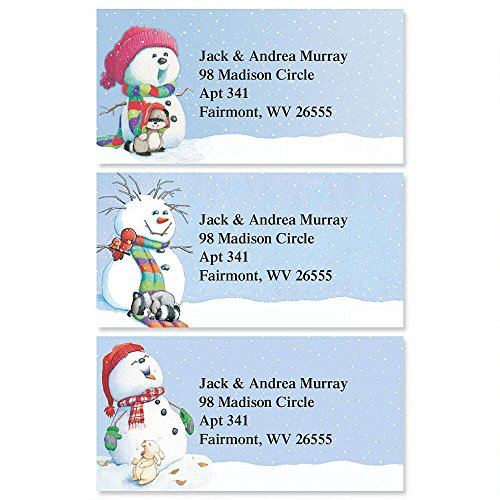 (Snowman Delights Personalized Return Address Labels - Set of 144, Large, Self-Adhesive, Flat-Sheet Labels (3 Holiday Designs), By Colorful Images)