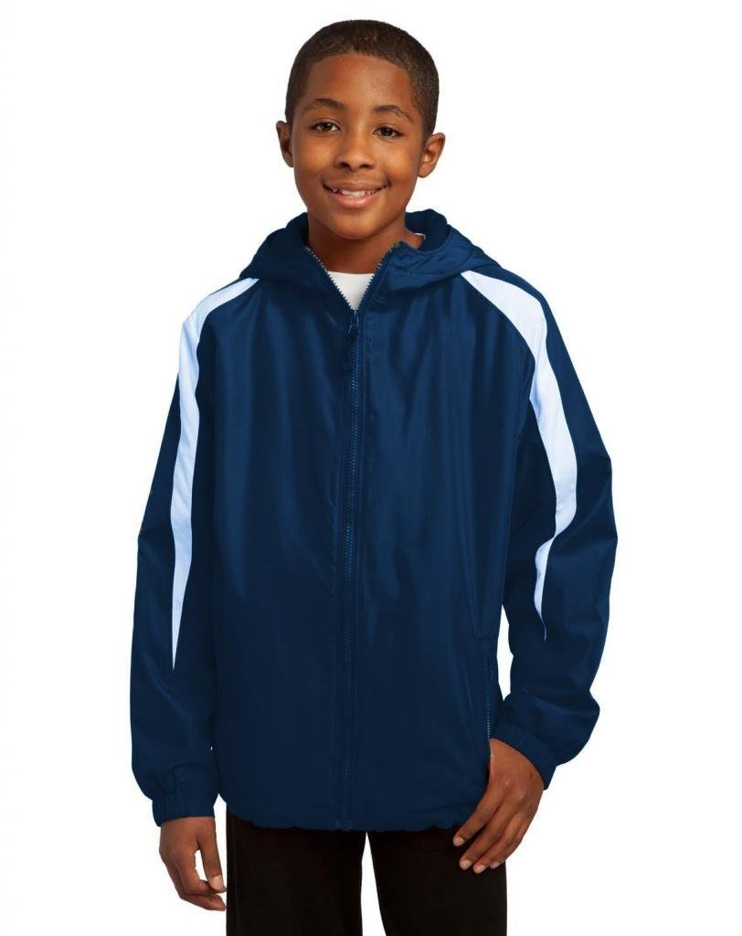 Sport-Tek YST81 Youth Fleece-Lined Colorblock Jacket - True Navy/White YST81 M by Sport-Tek