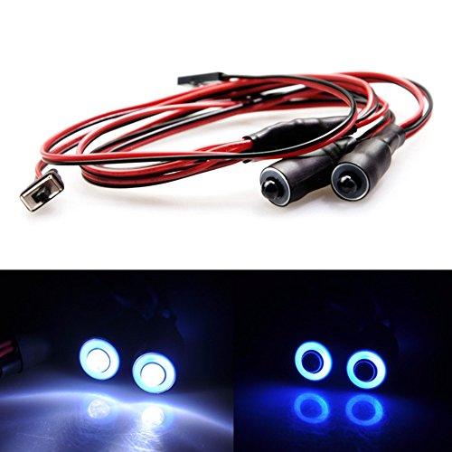 Eyes LED Light Headlights/Taillight for 1:10 RC Crawler Truck Car (Blue+White) ()
