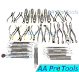 AA PRO 51 PC DENTAL EXAMINATION SET PLIERS FORCEPS ELEVATORS CURETTES PROBES SCALERS FILLING INSTRUMENT A+ QUALITY