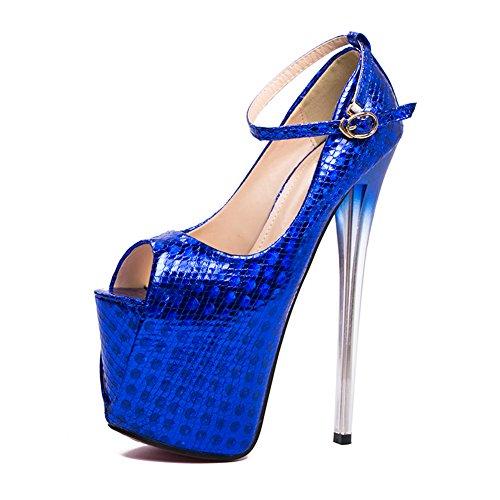 Bleu Femmes Chaussures Printemps Mariage Stiletto Fereshte De Toe Sandales CM 549 Talons Plateforme Nouvelles Fête Ciel Hauts Peep 19 Pompes 4ExngdnHZ