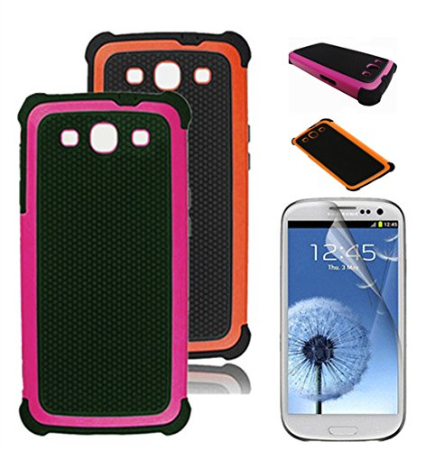 Buku Wireless 3 Pack Bundle for Samsung Galaxy S3 Including 2 Hybrid Soccer Strong Grip Protective Cases with (Soccer Galaxy S3 Case)