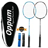 OPPUM 100% Full-Carbon Fiber Professional 2 Player Badminton Racquets Set Super Lightweight Badminton Rackets Including 2 Rackets/1 Carrying Bag/2 Overgrips For Sale
