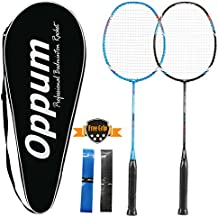 OPPUM 100% Full-Carbon Fiber Professional 2 Player Badminton Racquets Set Super Lightweight Badminton Rackets Including 2 Rackets/1 Carrying Bag/2 Overgrips
