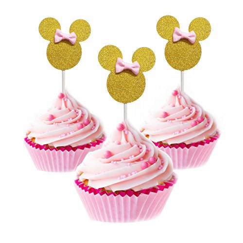 - Minnie Cupcake Toppers Pink And Gold Mouse Inspired Girls Birthday Party Decorations Baby Shower 24pcs