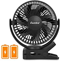 Gazeled Poartable Stroller Fan, Clip on Fan Camping, Small Quiet Desk Fans, 6700mAh Rechargeable USB/Battery Operated Fan Timer, 360 Degree Rotation Home, Office, Car, Gym, Baby, Black