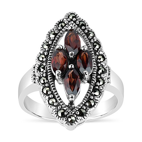 Facet Marquise - Sterling Silver Marcasite With Marquise Garnet Ring, Featuring Swarovski Marcasite (9)