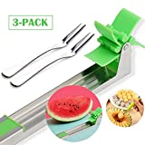 Watermelon Windmill Cutter Slicer, Stainless Steel Melon Knife Corer, Must-Have Kitchen Gadgets Vegetable Tools with Small Fruits Forks (3-in-1 Set)