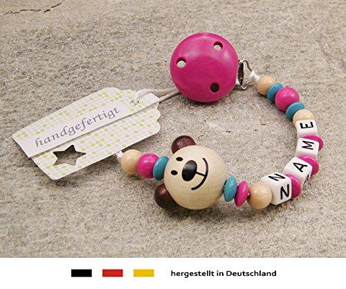 Baby SCHNULLERKETTE mit NAMEN | Schnullerhalter mit Wunschnamen - Mädchen Motiv Bär in natur, pink