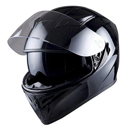 1STorm Motorcycle Street Bike Dual Visor/Sun Visor Full Face Helmet Mechanic Glossy Black, Size Large (57-58 CM,22.4/22.8 Inch) ()