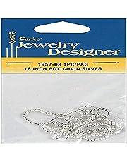 Darice Jewelry Designer Slimpack Silver Metal Chain, 18-Inch Box Chain