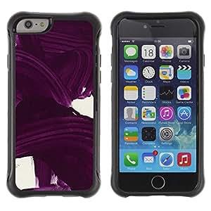 Híbridos estuche rígido plástico de protección con soporte para el Apple iPhone 6 (4.7) - purple wavy lines white minimalist color
