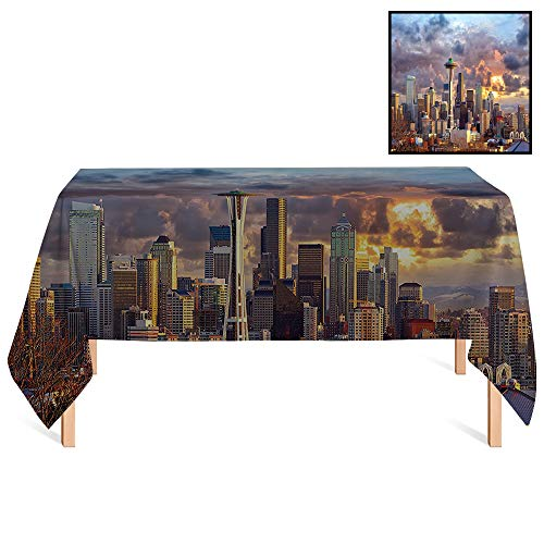 SATVSHOP Washable Tablecloth /24x24 Square, Seattle Skyline at Sunset Wa USA Sun Lights Through Dramatic Clouds Scene.for Wedding/Banquet/Restaurant. (Best Crawfish In Seattle)