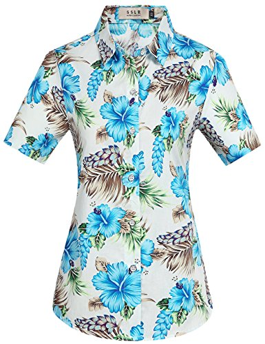 (SSLR Women's Button Down Causal Short Sleeve Aloha Hawaiian Shirt (Large, White Blue))