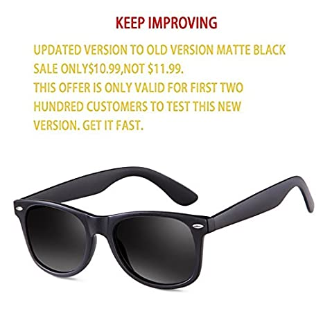 bfe298981e9cb Amazon.com  Sunglasses for Men- wearpro Retro Vintage Polarized Mens Sun  Glasses WP1001-2 (B Bright Black)  Clothing