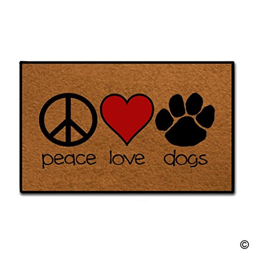 Love Door Mat (MsMr Entrance Doormat - Funny and Creative Doormat - Peace Love Dogs Door Mat for Indoor Outdoor Use Non-woven Fabric Top 23.6x15.7Inch)