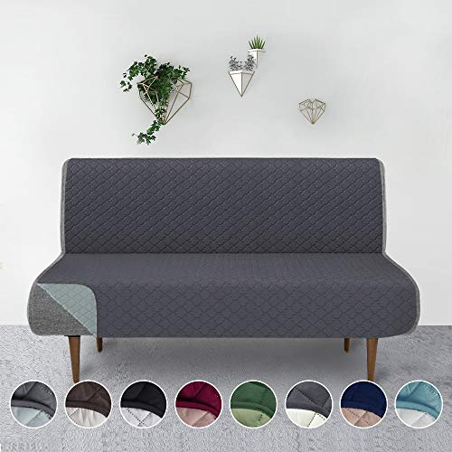 RHF Reversible Sofa Cover-Great for Home with Kids and Pets(Couch Cover for Dogs)-Features Elastic Strap (Futon: Darkgrey/LightGrey)