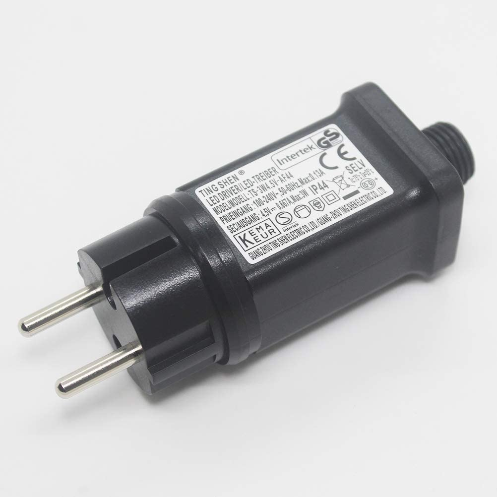 luz de Cadena Fuente de alimentaci/ón LED de 4.5V Transformador LED IP44 Adaptador LED de bajo Voltaje Reemplazo del Controlador para luz de Navidad