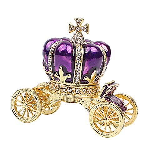 Hophen Purple Pumpkin Carriage Decorative Rhinestones Hinged Jewelry Trinket Box Figurine Collectible Ornament -