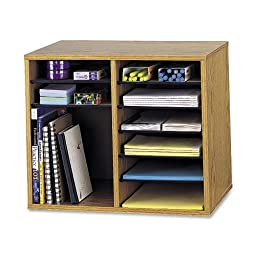 Safco Products 9420MO Wood Adjustable Literature Organizer. 12 Compartment, Oak
