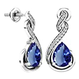 Sterling Silver 8X6 MM Each Pear Tanzanite & Round Diamond Ladies Infinity Dangling Earrings