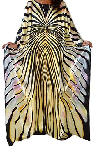 Jaycargogo Des Femmes De Douille De Mode Couleur Rayé Ajustement Lâche De Couture Batwing Robes Maxi 3