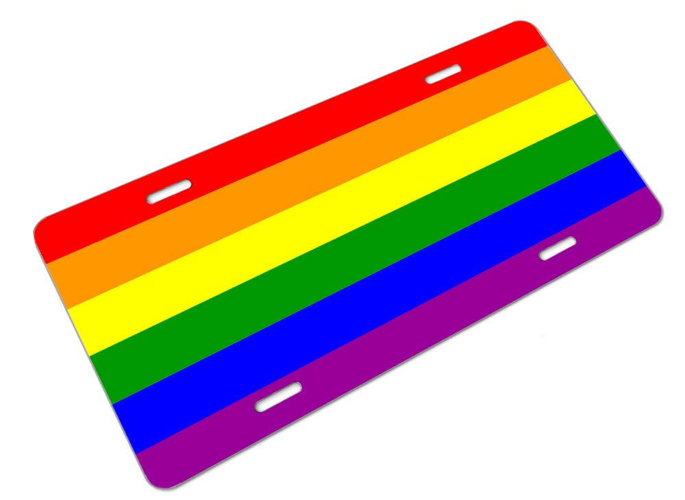 Amcove License Plate Rainbow Flag 6 Stripes Decorative Car Front License Plate,Vanity Tag,Metal Car Plate,Aluminum Novelty License Plate for Men//Women//Boy//Girls Car,6 X 12 Inch