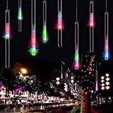 Adecorty Falling Rain Lights Meteor Shower Lights Rain Drop Lights Christmas Lights 30cm 8 Tube 144 LEDs, Cascading Icicle Lights, Snowfall Lights for Christmas Tree Holiday Decor (Multi Color)