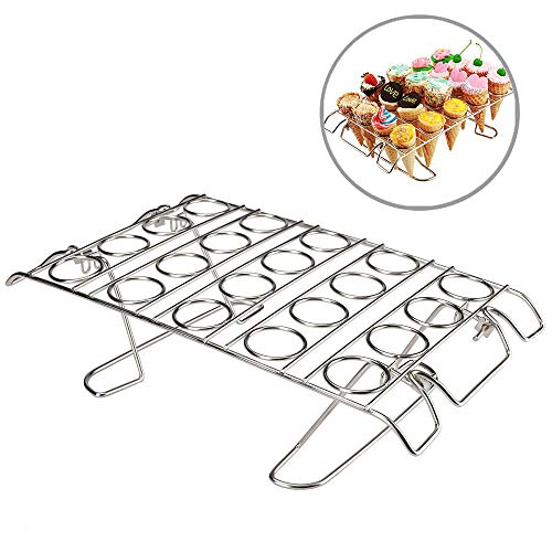 Cupcake Cone Baking Rack, Ice Cream Cone Stand Holder, Waffle Cone Holder,Stainless Steel,20 Capacity Foldable (1) - Ice Cream Cone Holder