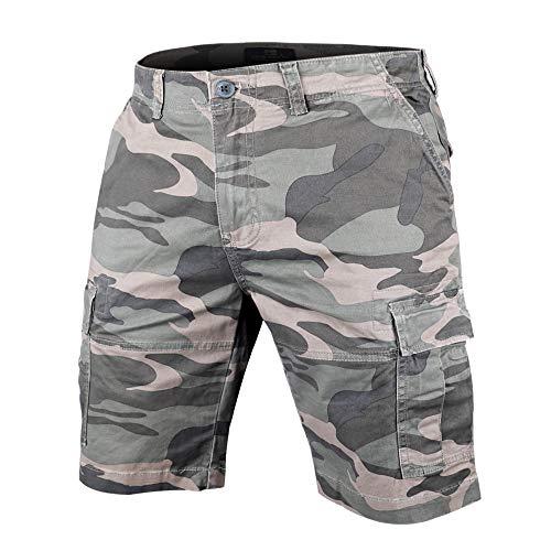 Muscle Alive Hommes Shorts Cargo Camping Randonnée Coupe Slim Camouflage Ancien 100% Coton 1