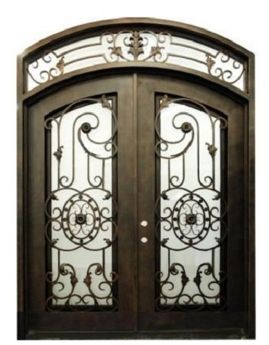Valencia 61 ½ In. X 96 In. Wrought Iron Entry Double Doors Eyebrow Arch Top In-swing Right Handed in Dark Bronze Includes Operable Euro Rain Glass, Metal Threshold, Forged Pulls, Full Weather (Arch Door Frame)