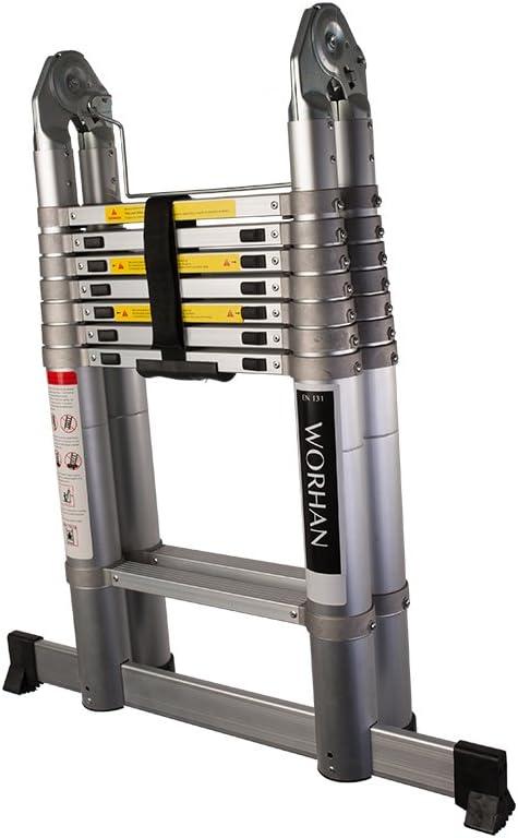 WORHAN/® Echelle T/élescopique Escabeau PRO Technologie Air Soft Close Aluminium Anodis/é Solide Extensible Avec une Barre Stabilisatrice amortissement de lair K3.8Air