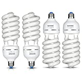 Neewer® 65W 110V 5500K Tri-phosphor Spiral CFL Daylight Balanced Light Bulb in E27 Socket for Photo and Video Studio Lighting(4 Pack)