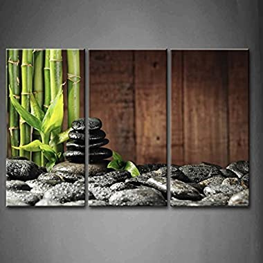 3 Panel Wall Art Green Spa Concept Bamboo Grove And Black Zen Stones On The Old Wooden Background Painting Pictures Print On Canvas Botanical The Picture For Home Modern Decoration piece (Stretched By Wooden Frame,Ready To Hang)