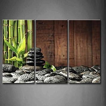 3 Verkleidung Grün Spa Konzept Bambus Hain Und Schwarz Zen Steine Alt  Hölzerner Hintergrund Wandkunst Malerei
