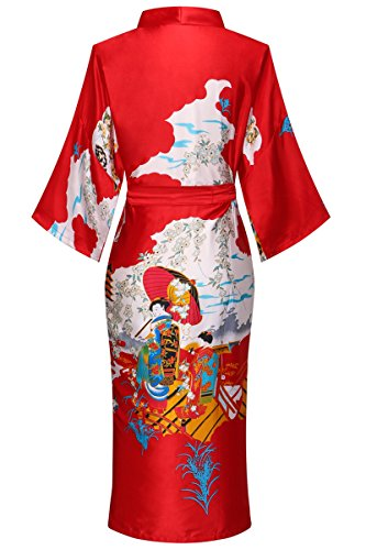 Yukata Women's Japanese Traditional Geisha & Sakura Satin Kimono Robe, Red L by Joy Bridalc (Image #1)