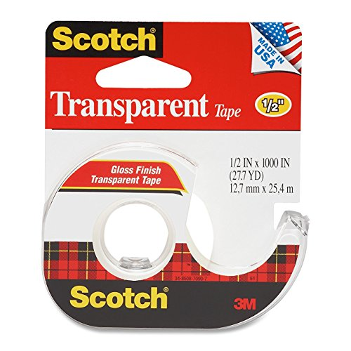 - 3M Transparent Tape with Dispenser, 1/2 Inch x 1000 Inches, 4-PACK