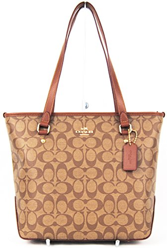 Coach ZIP TOP Tote in Signature Canvas F34603 Khaki/Saddle by Coach