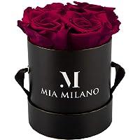 Mia Milano ® Infitnity Rosas (Caja de Rosas) Caja con Flores I 3 años de duración (Medium, Negro Medium - Burdeos)