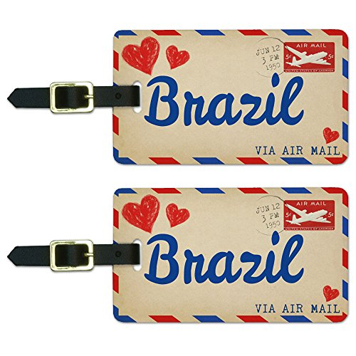 Air Mail Postcard Love for Brazil Luggage Suitcase Carry-On ID Tags Set of 2 ()