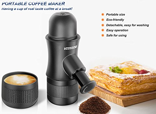 MOZEEDA Handheld Portable Coffee Maker Mini Espresso Machine Outdoor Travel Camping Espresso Maker, BPA Free, FDA Certified Plastic Coffee Maker