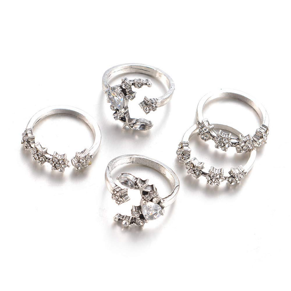 XBKPLO 2019 Rings 5PC Suit Fine Bohemian Silver Star Moon Wedding Lover Crystal Stack Rings for Women