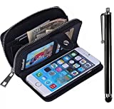 iPhone 5C Zipper Wallet Case,Vandot Multi-purpose Luxury PU Leather Cover Purse Bag Flip Folio Magnetic Business Style pattern with Wrist Strap Card Slots+Bling Metal Stylus Pen-Black