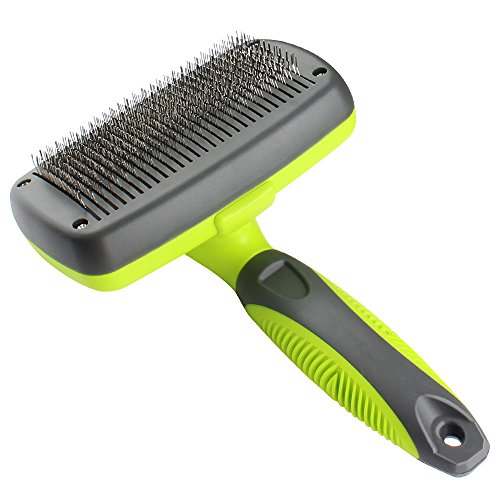 Rosmax-Self-Cleaning-Slicker-BrushDog-Brush-for-GroomingRemoves-Tangled-KnotsMatsUndercoat-and-Loose-Hair-with-Minimal-EffortEasy-to-CleanFits-SmallLarge-Dog-and-CatShort-and-Long-Hair