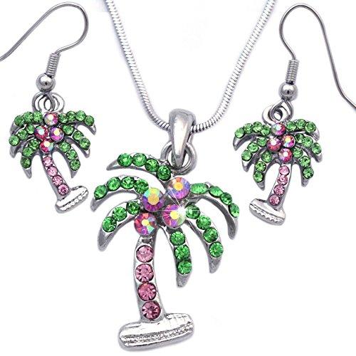 Pendant Charm Palm Tree - Palm Tree Charm Pendant Necklace Dangle Drop Hook Earrings Jewelry Set (Pink Hook Dangle)