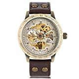 Mens Vintage Self-wind Mechanical Watch YISUYA Stainless Steel Skeleton Brown Leather Strap Sport Automatic Wristwatch