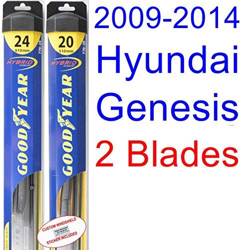 2009-2014 Hyundai Genesis Replacement Wiper Blade Set/Kit (Set of 2 Blades) (Goodyear Wiper Blades-Hybrid) (2010,2011,2012,2013)