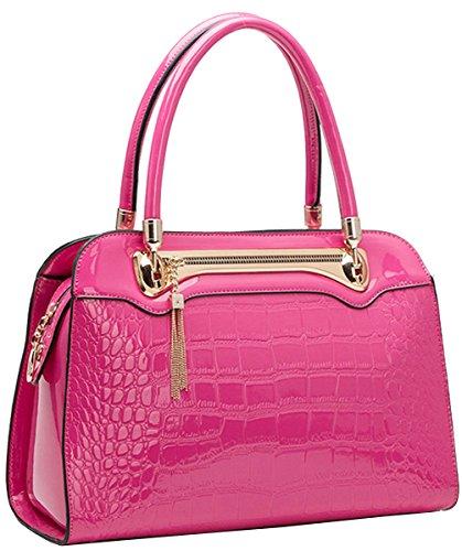 Tina Women's Embossed Zipper Top Handle Crossbody Shoulder Bag Hot Pink Tina-210-hot Pink