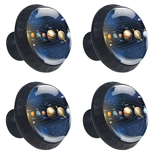 - jessgirl Universe Planet Solar System Drawer Knobs Handles Pulls for Cupboard Dresser Office with Screws DIY(Pack of 4)